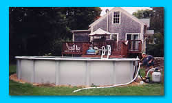 Above-ground pools available from J. C. Pools of South Barre MA